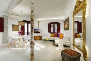 living area in modern accommodation in granada, spain