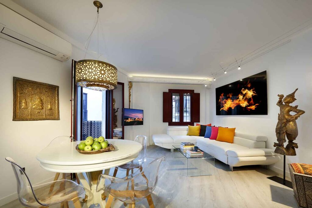 dining table in boutique short term apartment for rent near the alhambra in granada spain