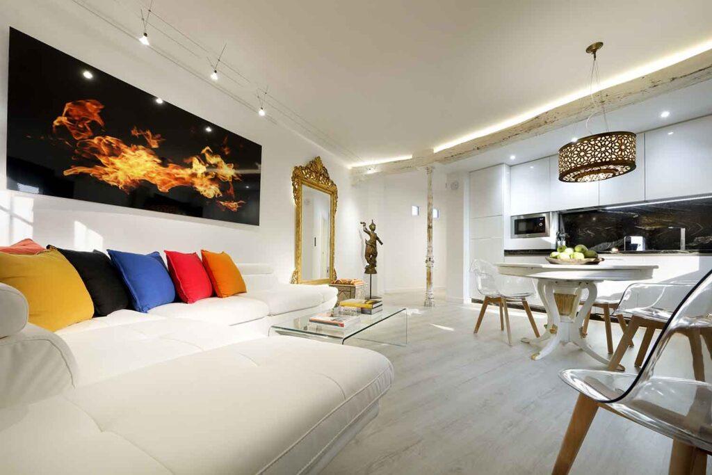 open concept living room in unique airbnb accommodation near alhambra granada spain