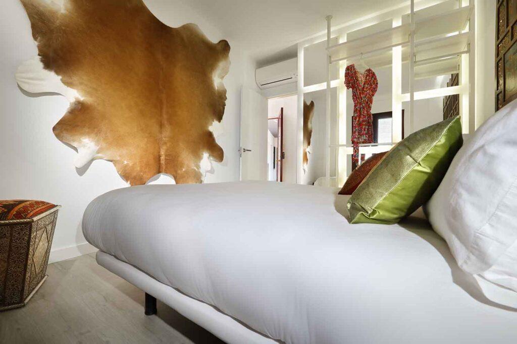 unique bedroom with decoration in newer apartment for rent, albaicin, granada, spain