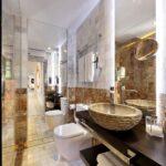 marbled walls in beautiful bathroom in luxury apartment near alhambra, granada