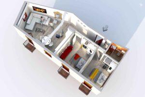 3d render of modern apartment for rent near alhambra in granada, spain