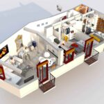 3d view of boutique accommodation rental in granada, spain