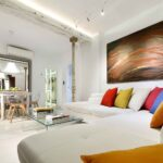 short term apartment in granada living room with modern painting