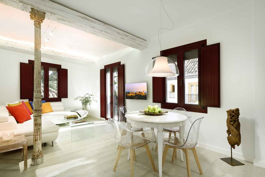 short term apartment in granada living room with alhambra views