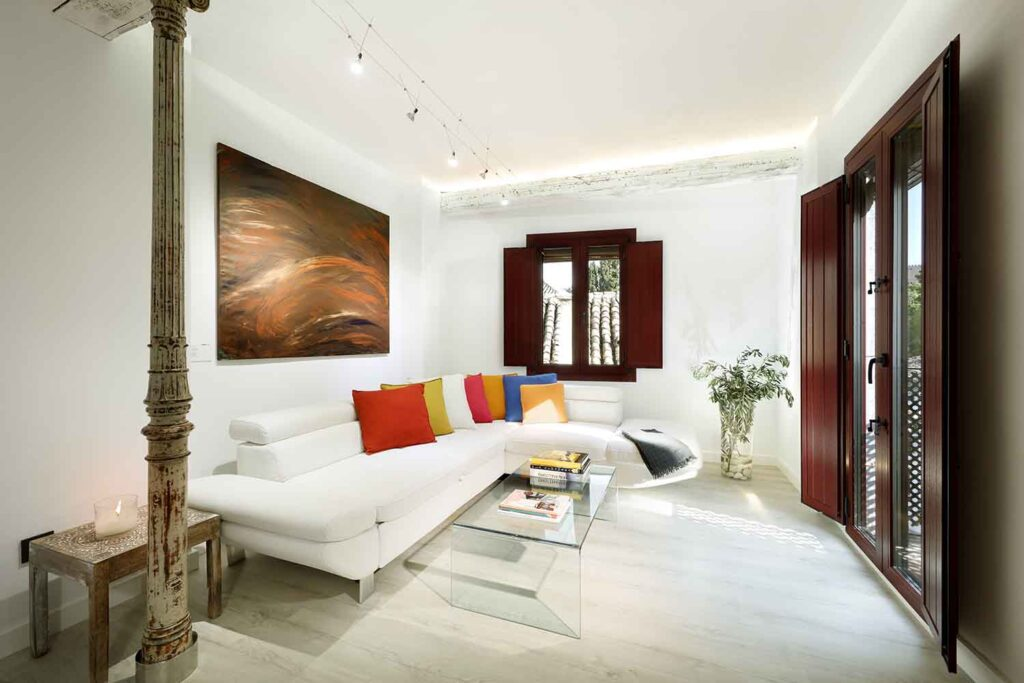 short term apartment in albaicin granada living room with balcony and views