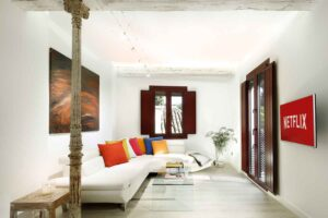 living room in holiday apartment for rent in the Albaicin Granada Spain with alhambra views