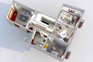 3d render of two bedroom apartment in albayzin, granada, near alhambra