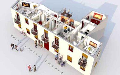 3 dimension render of unique short term apartment rentals building in the albaicin quarter of granada, spain
