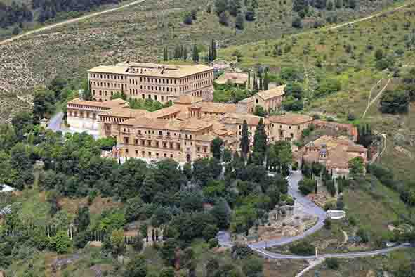 sacromonte abbey and the forest surrounding it, seen from the sky of granada