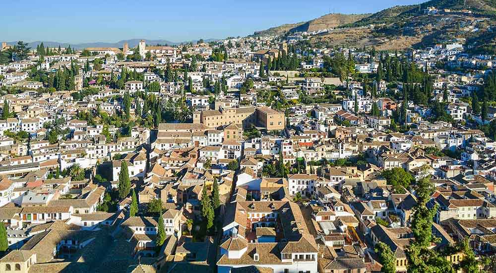 views of the albaicin granada from the alhambra fortress
