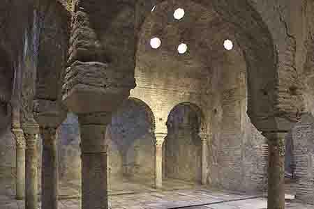 Arab ancient baths with arches in albaicin, granada