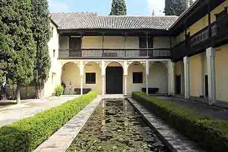 tradicional arab house with pond in exterior patio, albaizin, granada