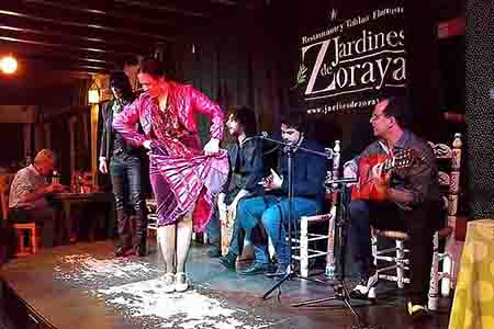 flamenco show with musicians playing guitar and singing in albaicin, granada