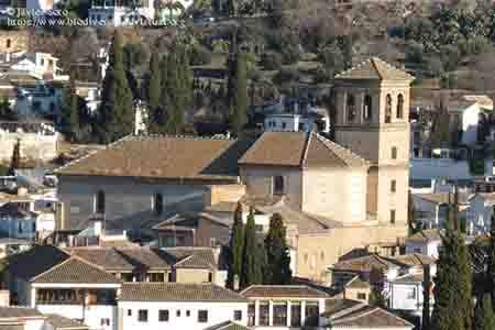 salvador church against the albaicin district, in granada, spain