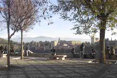 most famous lookout in granada with panoramic views of alhambra fortress in the back, spain